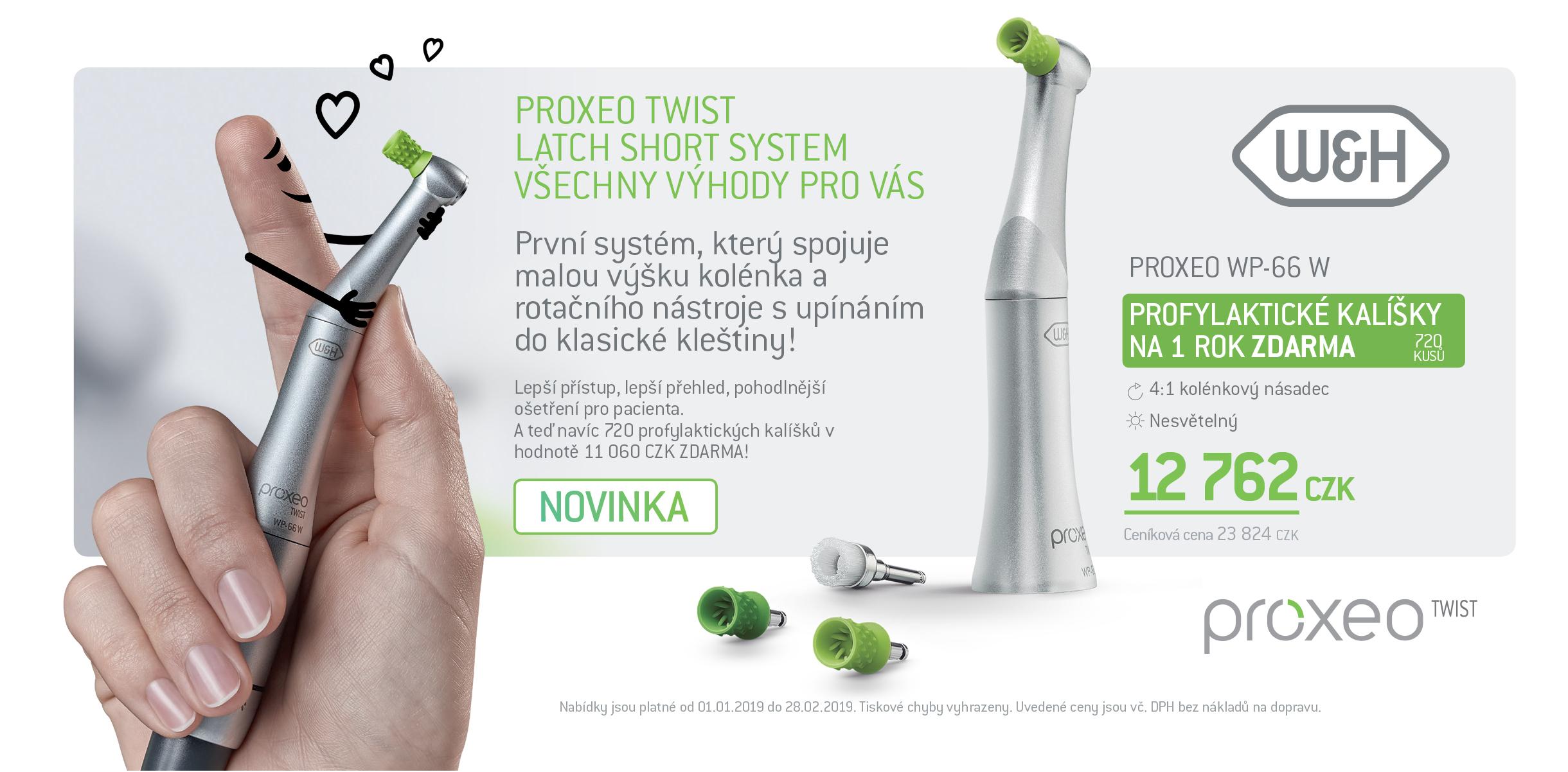 Profylaktický kolénkový násadec Proxeo TWIST Latch Short + profylaktické kalíšky/kartáčky na rok ZDARMA
