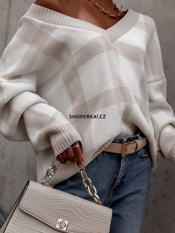 sweter fashion plaid beige white(1)