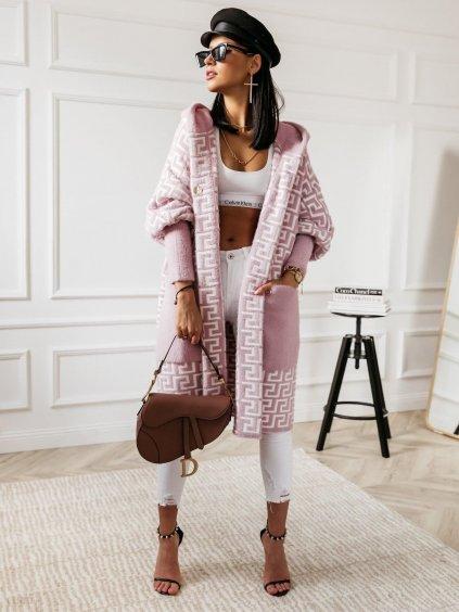 Růžový svetrový cardigan s kapucí Baroco