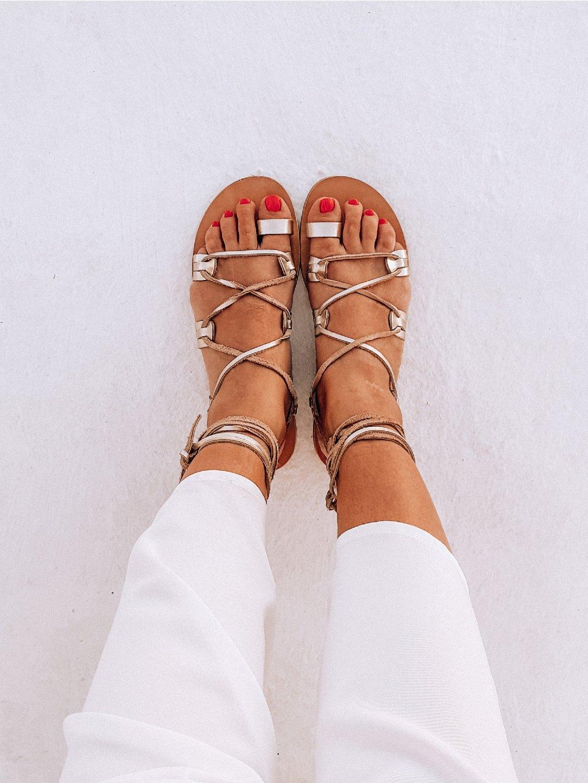 janatini greek sandals santorini collection gold