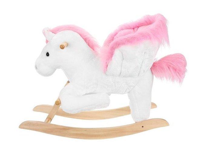 Hojdací koník bielo - ružový s reproduktorom