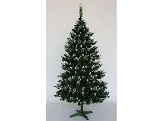 2160 vianocny stromcek borovica zasnezena so siskami 150 cm