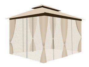 pol pl Pawilon ogrodowy z moskitiera i sciankami kremowy 15231 4