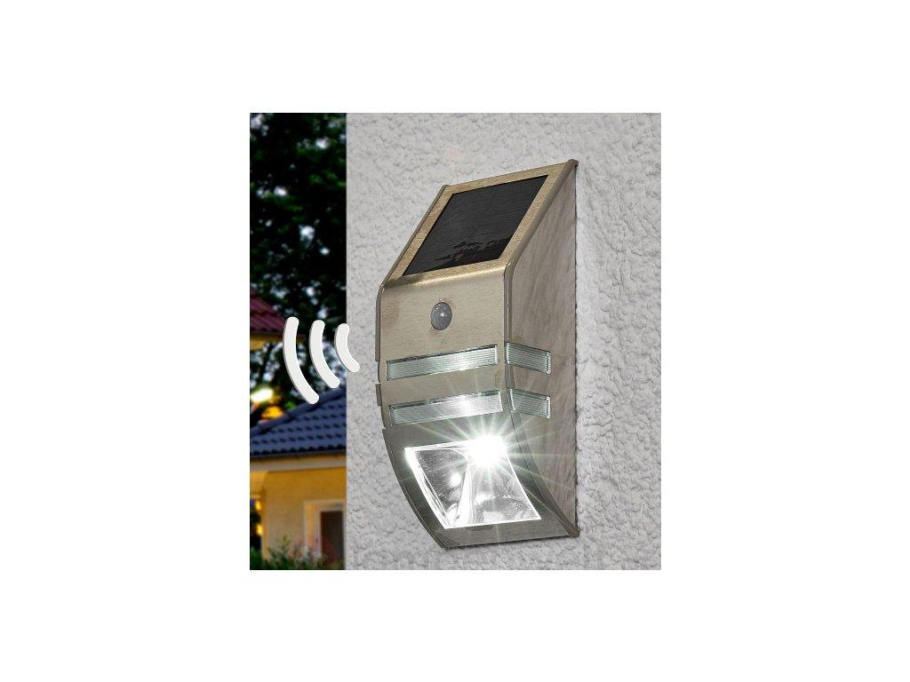 Solárne LED nástenné svetloSOL WL 02007 IP44  s pohybovým PIR detektorom 2xLED 30lm Nerezová oceľ