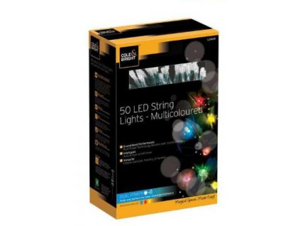 Solárna multifarebná LED reťaz Cole & Bright Dual Power 50 LED - 6,9m