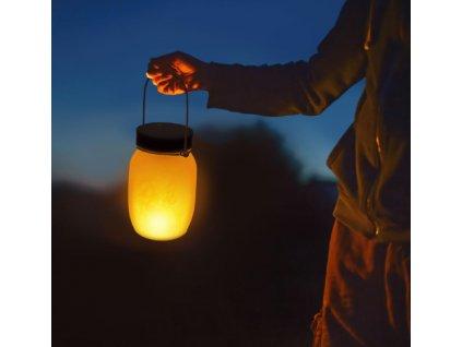 Solárna LED lampa imitujúca plamene čierna