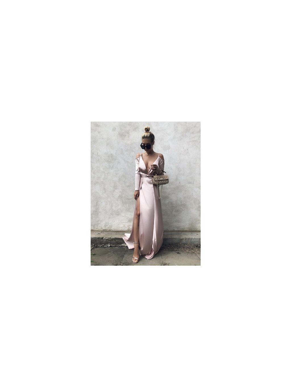 satin pink maxi šaty