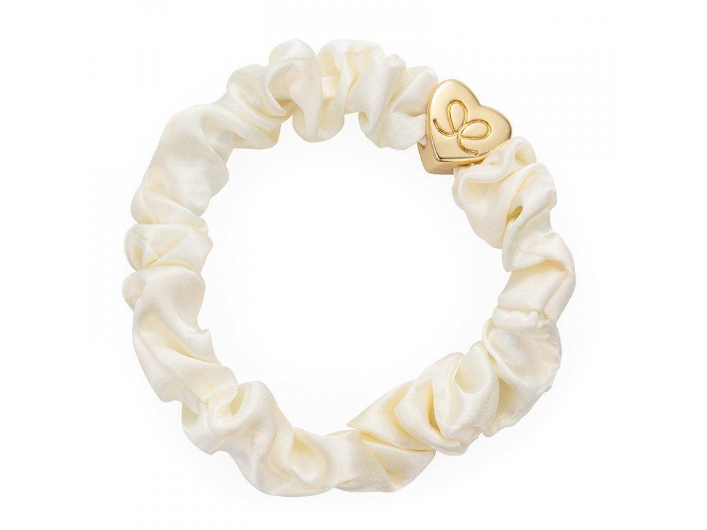 Cream GoldHeart Scrunchie ByEloise