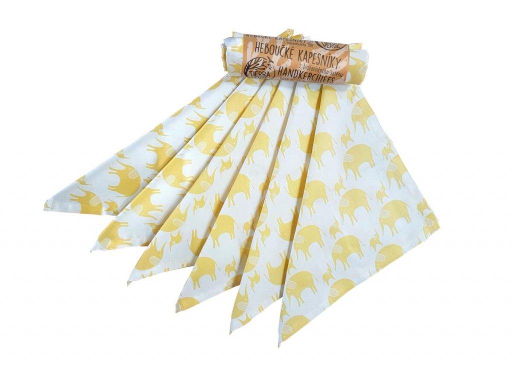 Tierra Verde – Kapesníky dětské – žlutý slon (28×28 cm) 6 ks