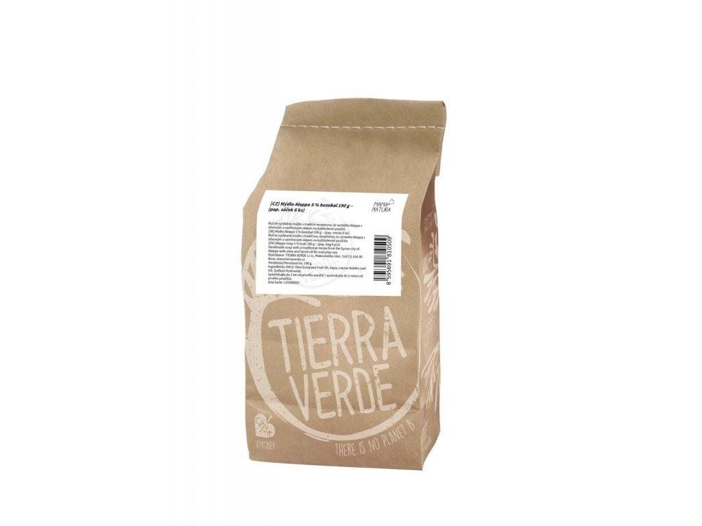Tierra Verde – Mýdlo Aleppo 5 % (bezobal 190 g), 190 g × 6 ks