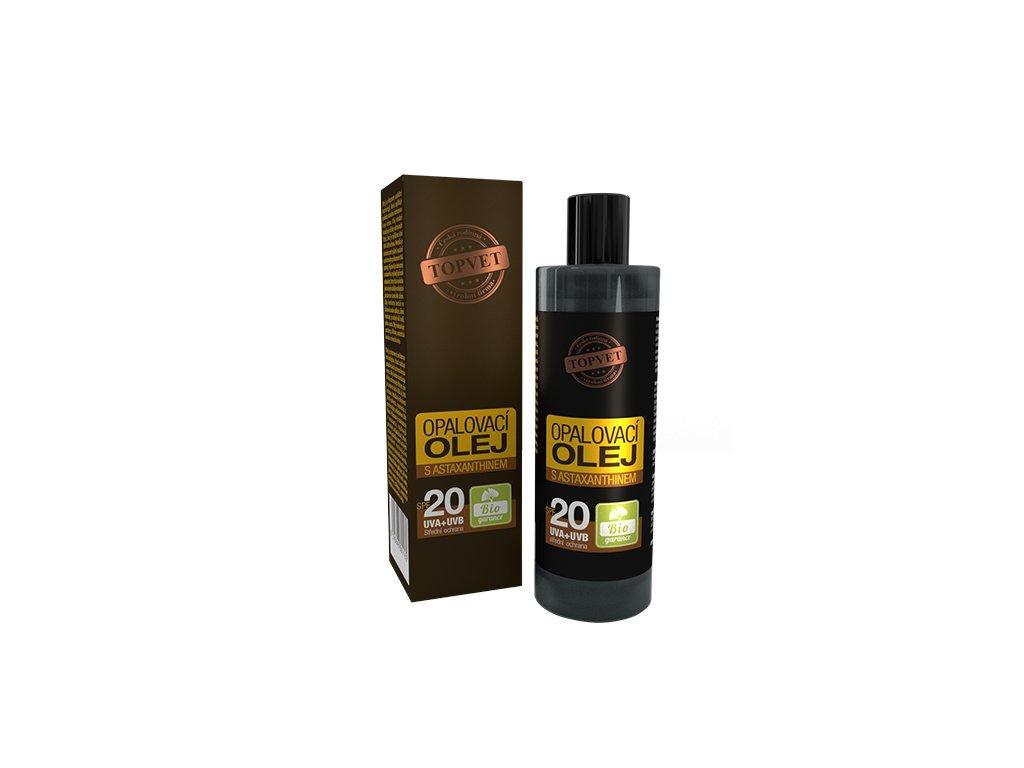 TOPVET Opalovací olej s astaxanthinem SPF20 100ml