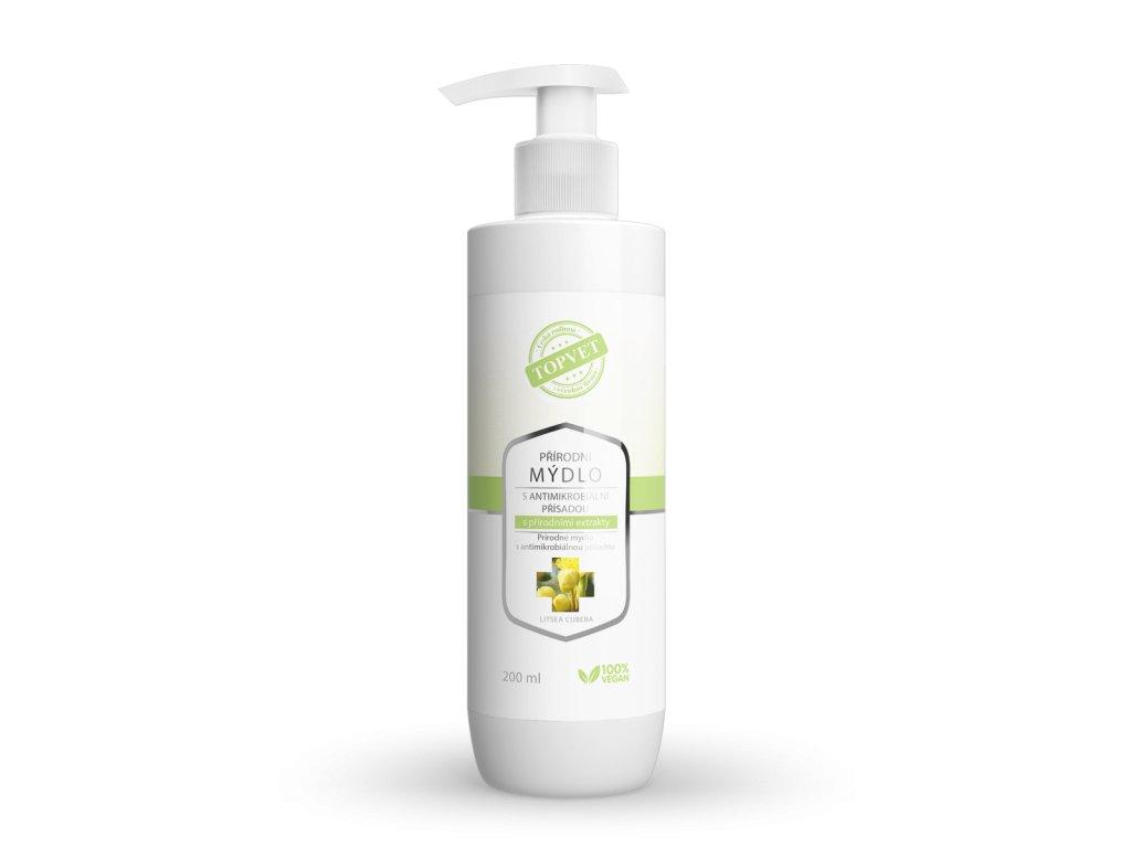 TOPVET Přírodní mýdlo s antimikrobiální přísadou s přírodními extrakty 200ml