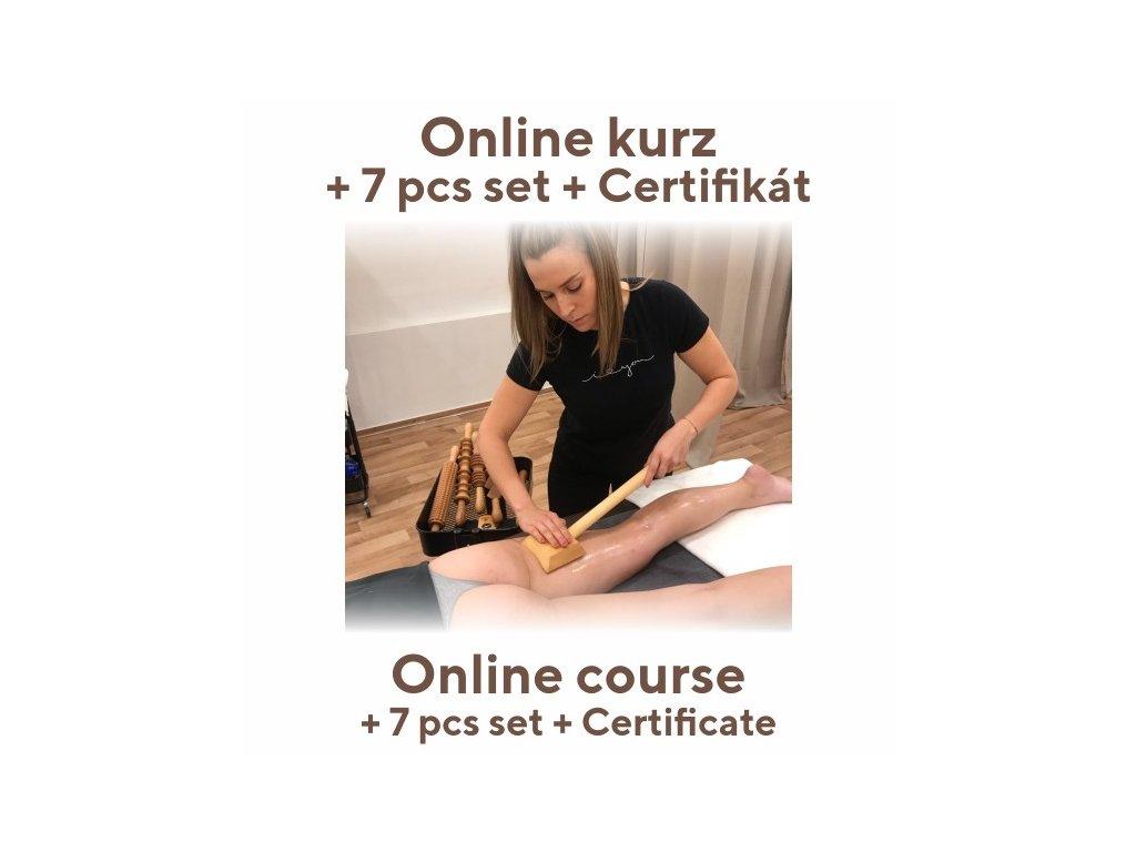 Dr.nek Online školení MADEROTERAPIE + Sada 7 KS dřevěných prvků + OLEJE - Maderotherapy