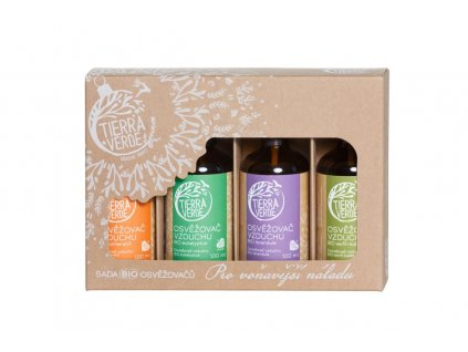 Tierra Verde – Sada BIO osvěžovačů – Pro voňavější náladu (krabička 4 ks)