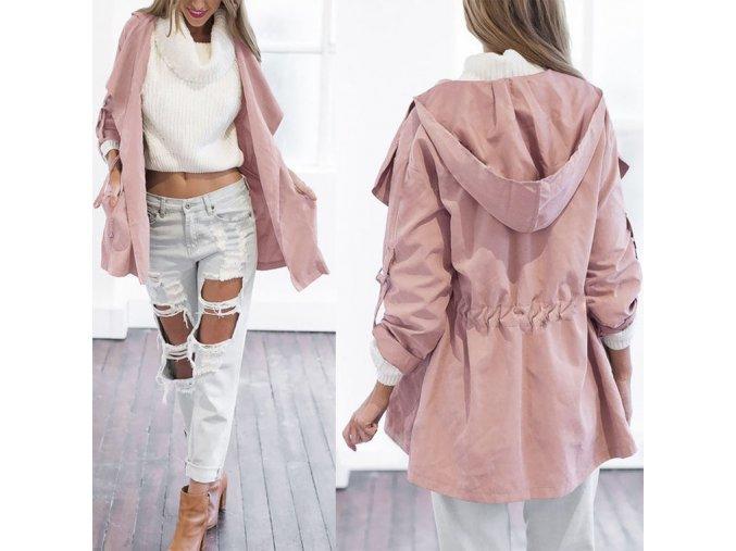 Dámský podzimní kabátek (barva růžová, Velikost XL)