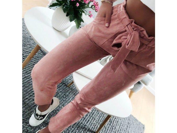 Dámské kalhoty / Růžové / Vysoký pas