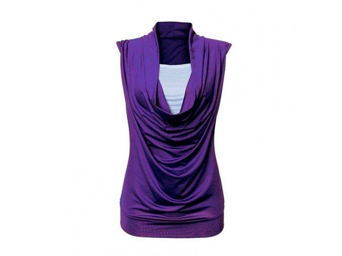Dámský módní top bez rukávů (barva Modrá, Velikost XL)