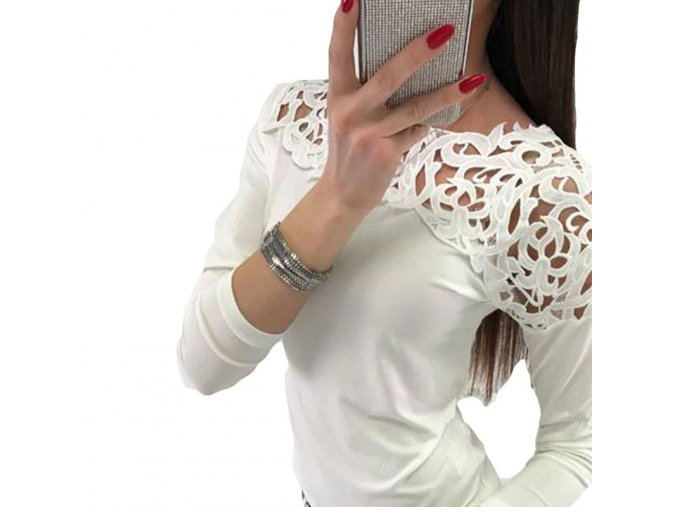 Dámský krajkový top s dlouhým rukávem (barva růžová, Velikost XL)