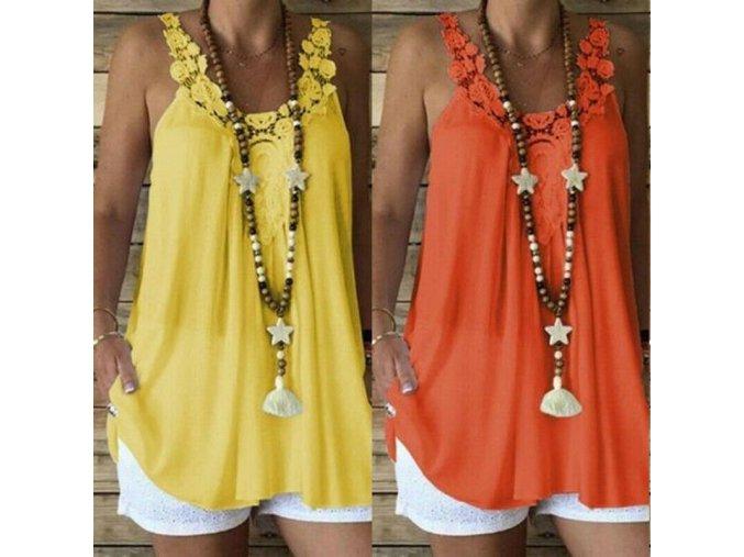 Dámský letní top (barva Oranžová, Velikost S)