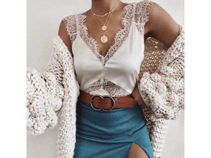 Dámský krajkový top (barva Bílá, Velikost S)
