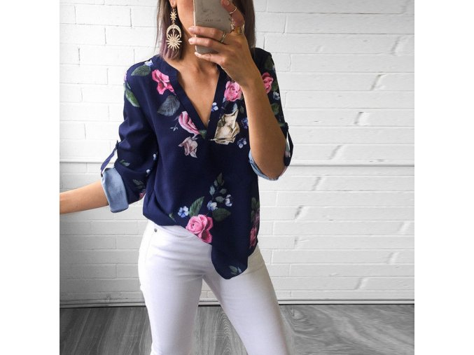 Dámská košile s květinami (Varianta 1, Velikost S)
