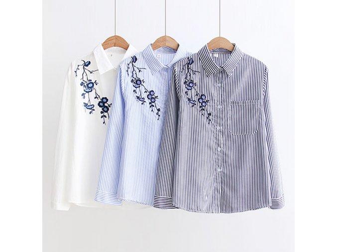 Dámská košile s výšivkou (barva Bílá, Velikost S)