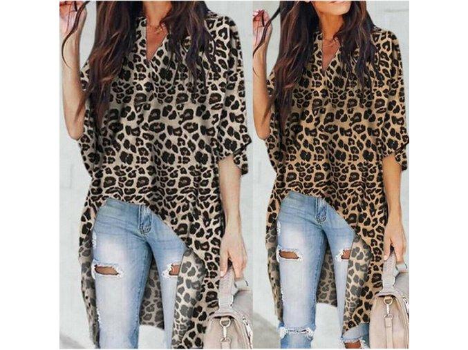 Dámská dlouhá košile s leopardím vzorem (Varianta 1, Velikost S)