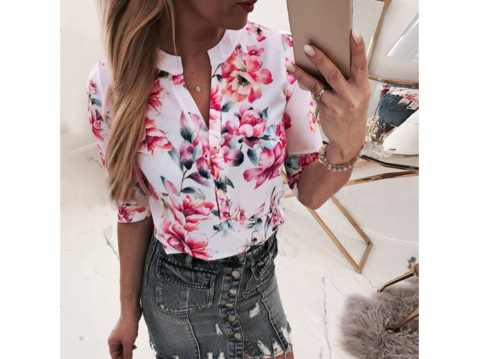 Dámská košile s květinami (Velikost S)