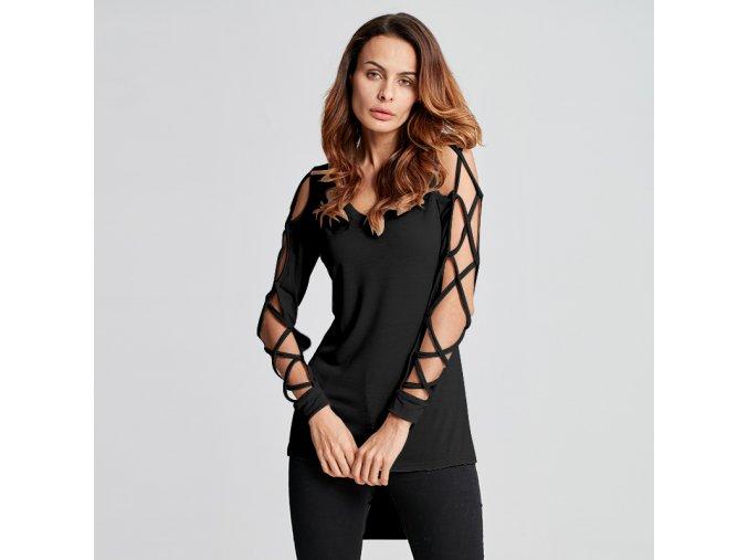 Dámské tričko s průstřihy (barva černá, Velikost S)