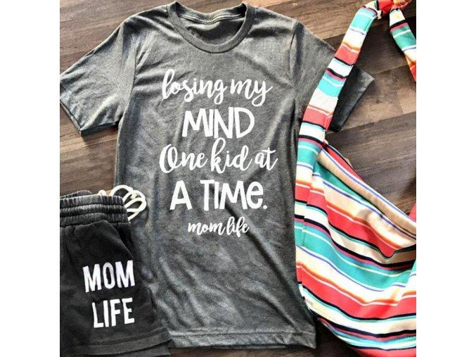 Dámské tričko mom life (barva šedá, Velikost XL)