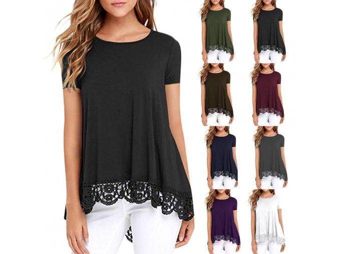 Dámské tričko s krátkým rukávem (barva černá, Velikost S)