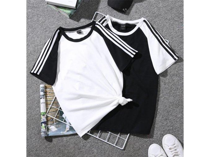 Dámské tričko s pruhy (barva Bílá, Velikost M)
