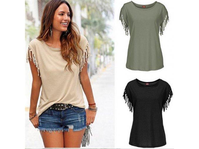 Dámské tričko s třásněmi (barva Bílá, Velikost S)