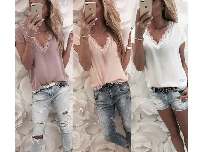 Dámské tričko s krajkou (barva Bílá, Velikost S)