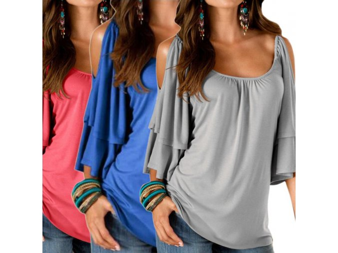 Dámské tričko s odhalenými rameny (barva Modrá, Velikost S)