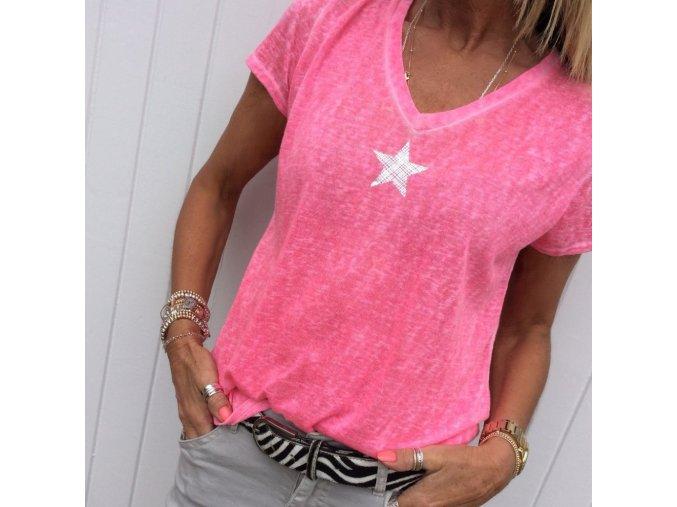 Dámské tričko s hvězdou (barva Modrá, Velikost S)