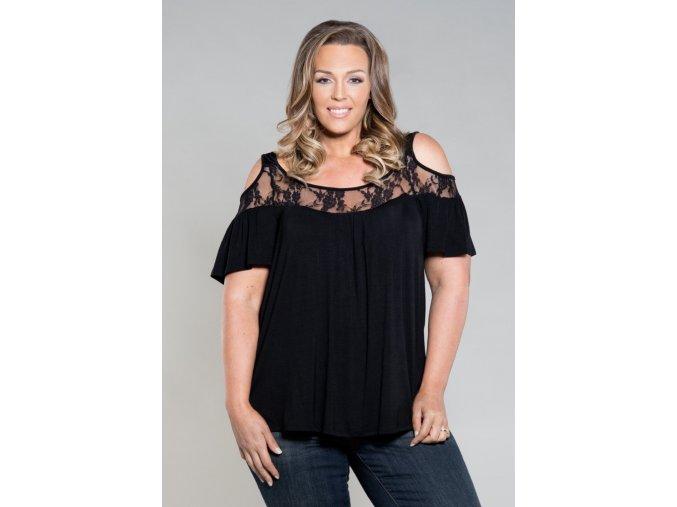 Dámské tričko s odhalenými rameny (barva černá, Velikost XL)