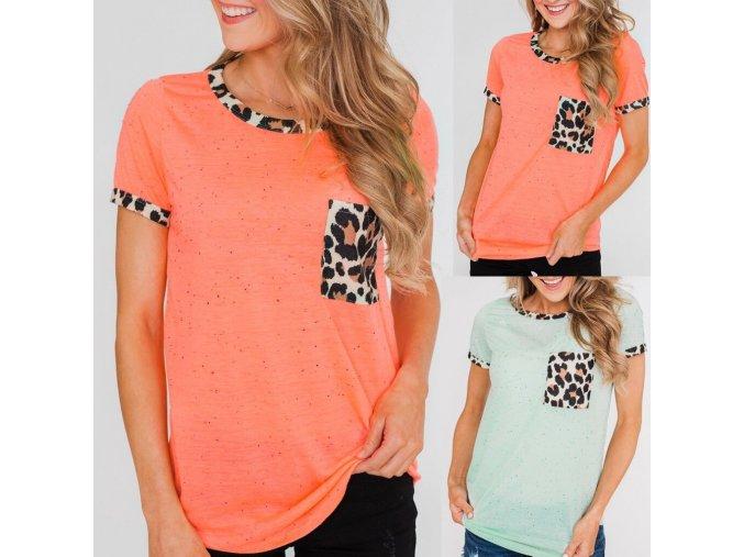 Dámské tričko s leopardím vzorem (barva Oranžová, Velikost S)