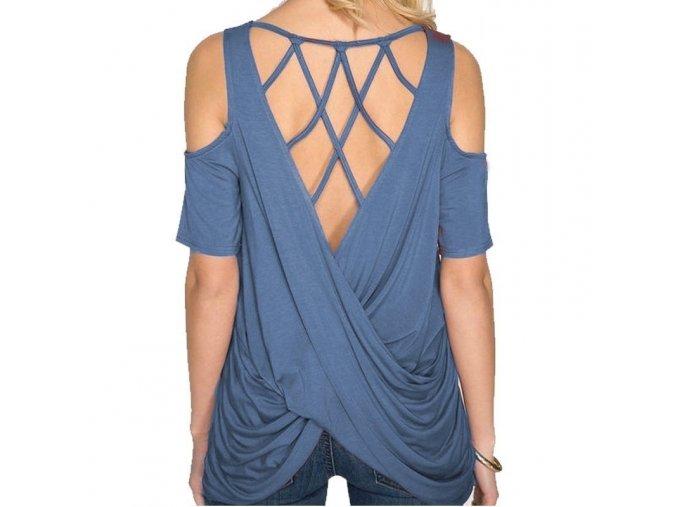 Dámské tričko s průstřihy (barva Modrá, Velikost S)