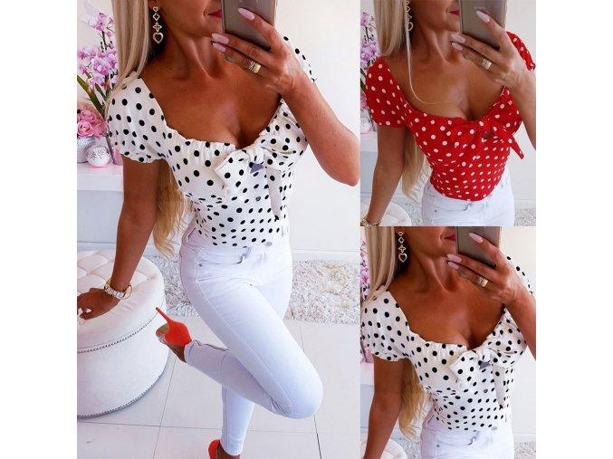 Dámské tričko s puntíky (barva Bílá, Velikost S)