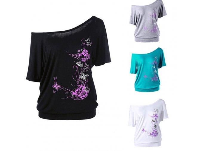 Dámské tričko s odhaleným ramenem (barva Bílá, Velikost S)