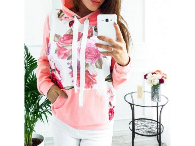 Dámská mikina Flower (barva růžová, Velikost XL)