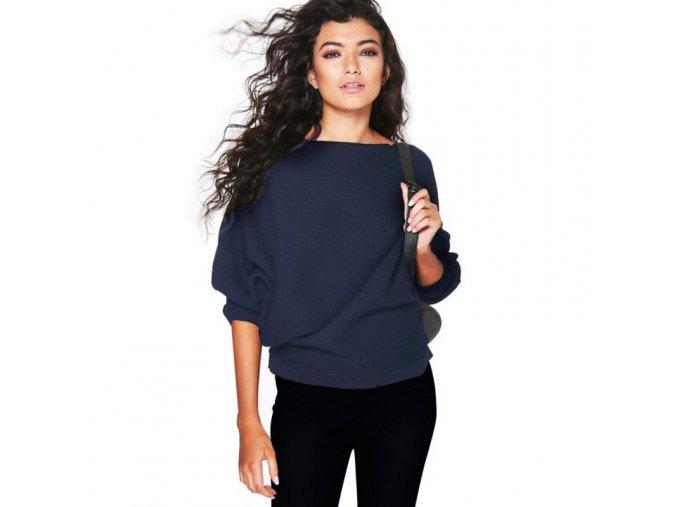 Dámský podzimní volný svetr (barva vínová, Velikost XL)