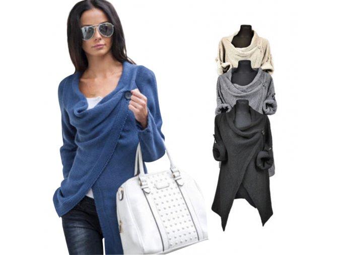 Dámský elegantní svetr Marina (barva černá, Velikost Univerzální)