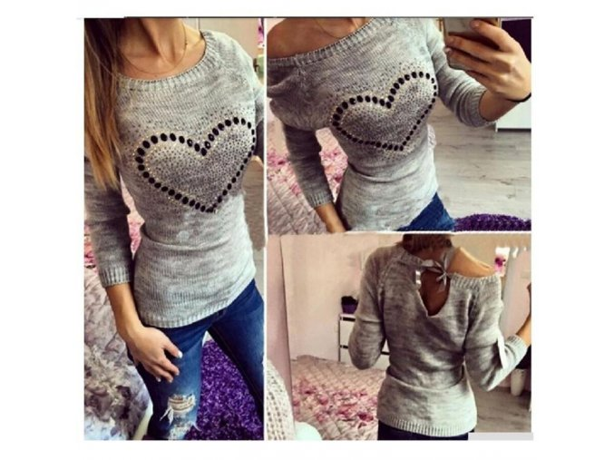 Dámský módní svetr Heart (barva šedá, Velikost XL)