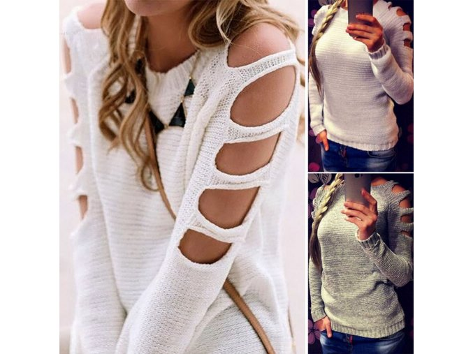 Dámský svetr s vykrojenými rameny (barva šedá, Velikost XL)