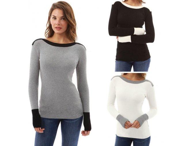 Dámský módní svetr Rachel (barva šedá, Velikost XL)