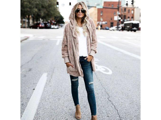 Dámský teplý svetr s kapucou (barva béžová, Velikost XL)