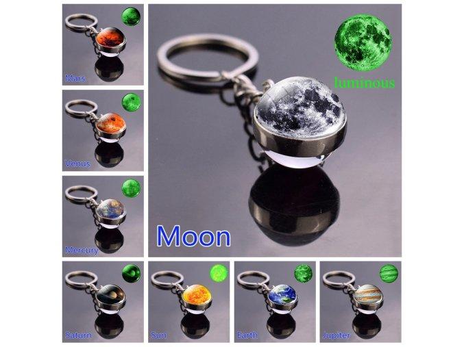 0 main glow in the dark solar system planet keyring galaxy nebula luminous keychain moon earth sun double side glass ball key chain