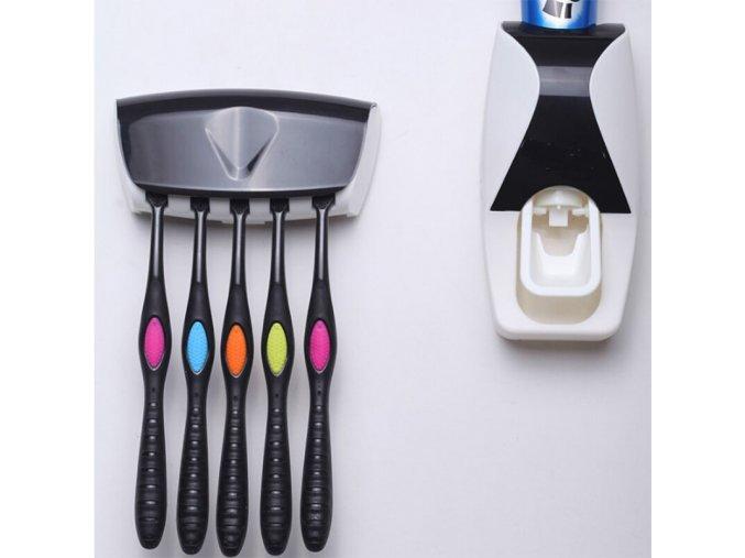 Dávkovač na zubní pastu + držák na zubní kartáčky